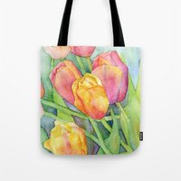 tulips Tote Bags featuring Tulips by Susan Windsor