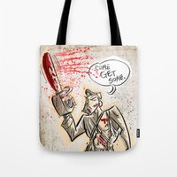 evil dead Tote Bags featuring Ash from The Evil Dead by Joe Badon