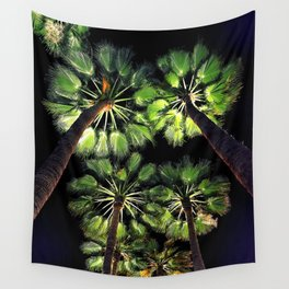 Palm Trees Night Walk Wall Tapestry