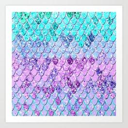 Mermaid Scales with Unicorn Girls Glitter #9 #shiny #decor #art #society6 Art Print