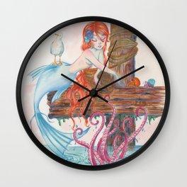 Mermaid on Dock Wall Clock