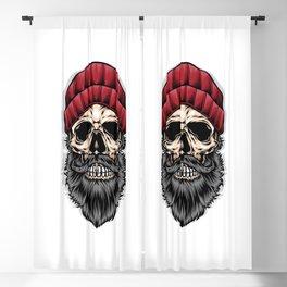 Bearded Skull Wear Red Beanie Blackout Curtain