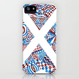 Letter X, Blue/Red Abstract (Ink Drawing) iPhone Case