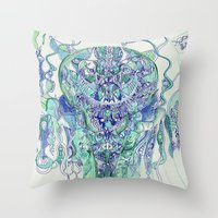"hydra Throw Pillows featuring ""hydra"" by Rachna Radar"