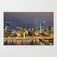 pittsburgh Canvas Prints featuring Pittsburgh by Rachel Bock