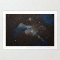 Blue and Silver Galaxy Art Print
