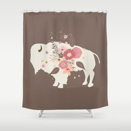 Floral Buffalo Shower Curtain