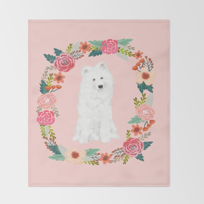 Samoyed dog breed floral wreath pet portrait dog gifts Throw Blanket