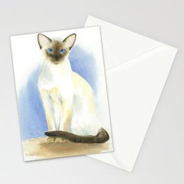 chocolate point siamese cat 2 Stationery Cards