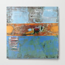 Alligator Blue Orange Modern Abstract Contemporary Art Metal Print