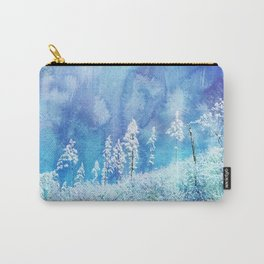 Winter Wonderland - trees with snow on landscape with watercolour background Carry-All Pouch