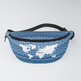 Wavy World Map Blue Fanny Pack