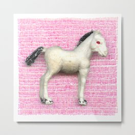 My little foal in a sea of pink Metal Print