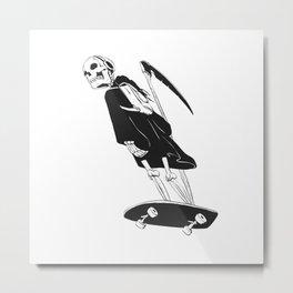Grim reaper skater - funny skeleton - gothic monster - black and white Metal Print