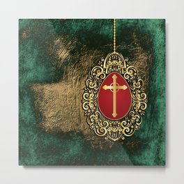 Beautiful red egg with gold cross on a moody green and gold texture Metal Print