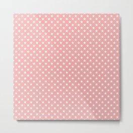 Bright White Stars on Blush Pink Metal Print