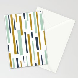 Interrupted Lines Mid-Century Modern Minimalist Pattern in Blue, Mint, and Golden Mustard Stationery Cards