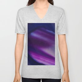 Purple Blue Cool Tone Geode Rock Stone Crystal Fine Art Print Unisex V-Neck