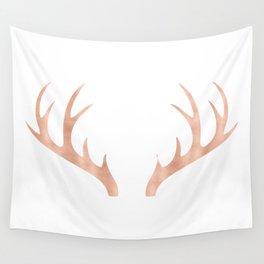 Antlers Rose Gold Deer Antlers Wall Tapestry