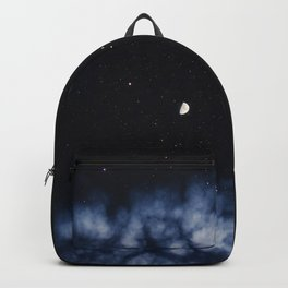 Contrail moon on a night sky Backpack