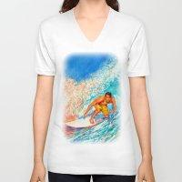 surfer V-neck T-shirts featuring Surfer by LiliyaChernaya