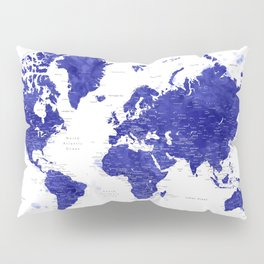 """Navy blue watercolor world map with cities, """"Ronnie"""" Pillow Sham"""