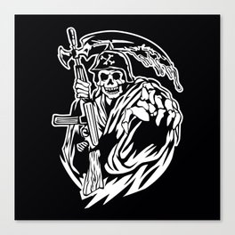 Hand Inked Grim Reaper Illustration Canvas Print