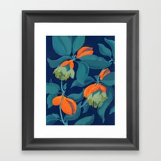 Tropical orange fruit tree Framed Art Print