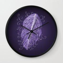 Violet Swirly Leaf Wall Clock