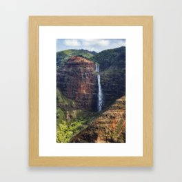 A Waterfall on the Na Pali Coast painterly Framed Art Print