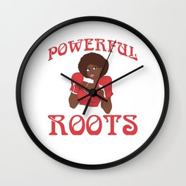 Powerful Roots Black History Month Boxing Shirt For Boxers T-shirt Design Ring Gloves Knock Out Wall Clock