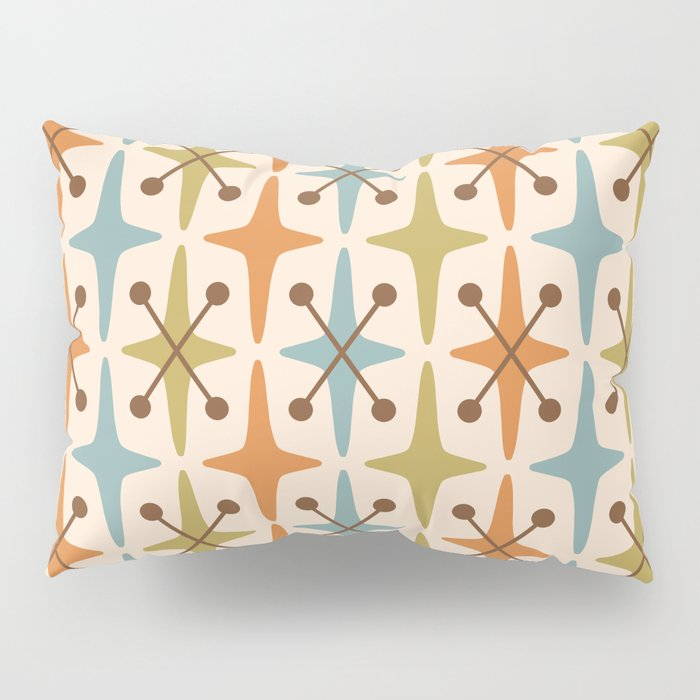 Mid Century Modern Abstract Star Pattern 441 Orange Brown Blue Olive Green Pillow Sham
