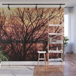 Winter Trees on Golden Sunset Lake Wall Mural