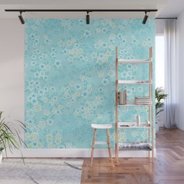Forget Me Knot - Little Flowers on aqua Wall Mural