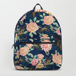 Gilded Peonies and Cranes Backpack