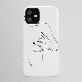 Hiding nipples, Woman In One Line, Fashion Printable, nude lady showing middle finger iPhone Case