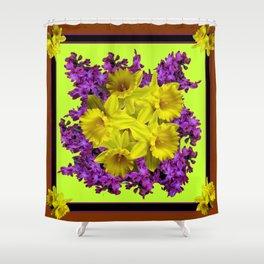 Chartreuse Design Daffodils Purple Hyacinths Brown Art Shower Curtain