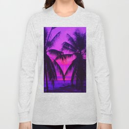 Pink Palm Trees by the Indian Ocean Long Sleeve T-shirt