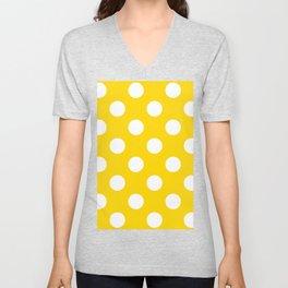 Large Polka Dots - White on Gold Yellow Unisex V-Neck