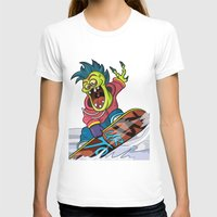 snowboarding T-shirts featuring Snowboarding by Brain Drain Fox