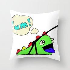 Hungry Slug Monster Throw Pillow