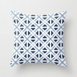 Geo Stamp Blue Throw Pillow