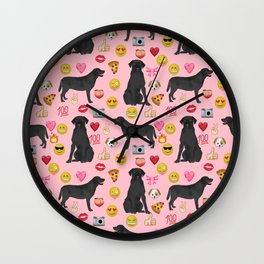 Black lab emoji labrador retrievers dog breed Wall Clock