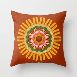 Bacon Cheeseburger with Fries Mandala Throw Pillow