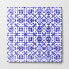 Classic European Blue Tiles Metal Print