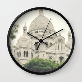 Paris - Montmartre - Sacre Coeur - white, cream, beige - Architecture - church Wall Clock