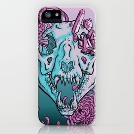 Cougar Skull With Chrysanthemums iPhone Case