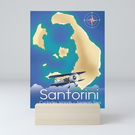 Santorini Cyclades islands Travel Map Mini Art Print