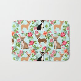 Chihuahua floral tropical hawaii floral hibiscus dog breed dogs pets Bath Mat