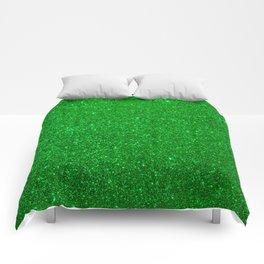 Emerald Green Shiny Metallic Glitter Comforters